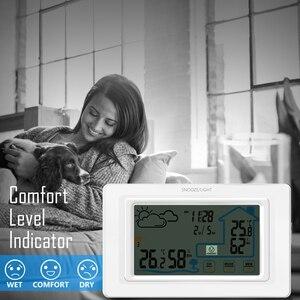 Image 3 - דיגיטלי אלחוטי מדדי לחות מגע מסך מזג אוויר תחנת טמפרטורת לחות מד מדדי לחות לוח דקורטיבי מגע שעון