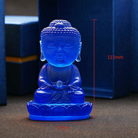 Blue Color Glass Buddha Statue Figurines Miniatures Tathagata Buddhism Crystal Crafts Feng Shui Antique Gifts Vintage Home Decor