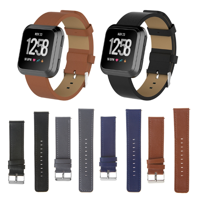 OOTDTY Leather Wristband Strap Band Replacement For Fitbit Versa Fitness Smart Watch Bracelet Wearable Accessories