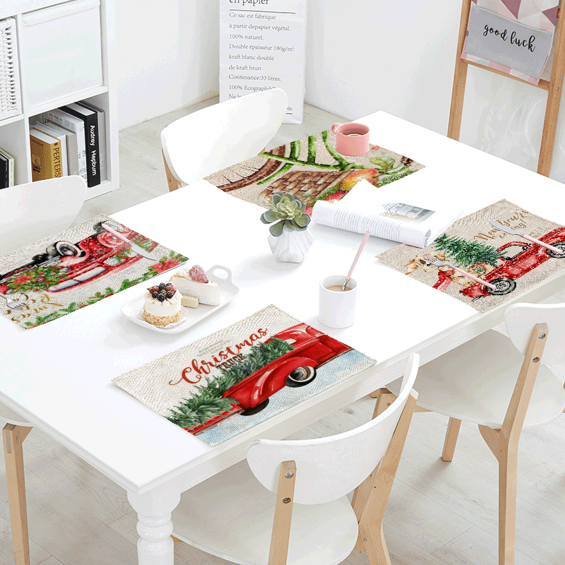 Merry Christmas Table Napkins Snowman Tree Print Dining Table Mat Decor Table Skirts Kitchen Linen Tablecloths 42*32cm Placemats