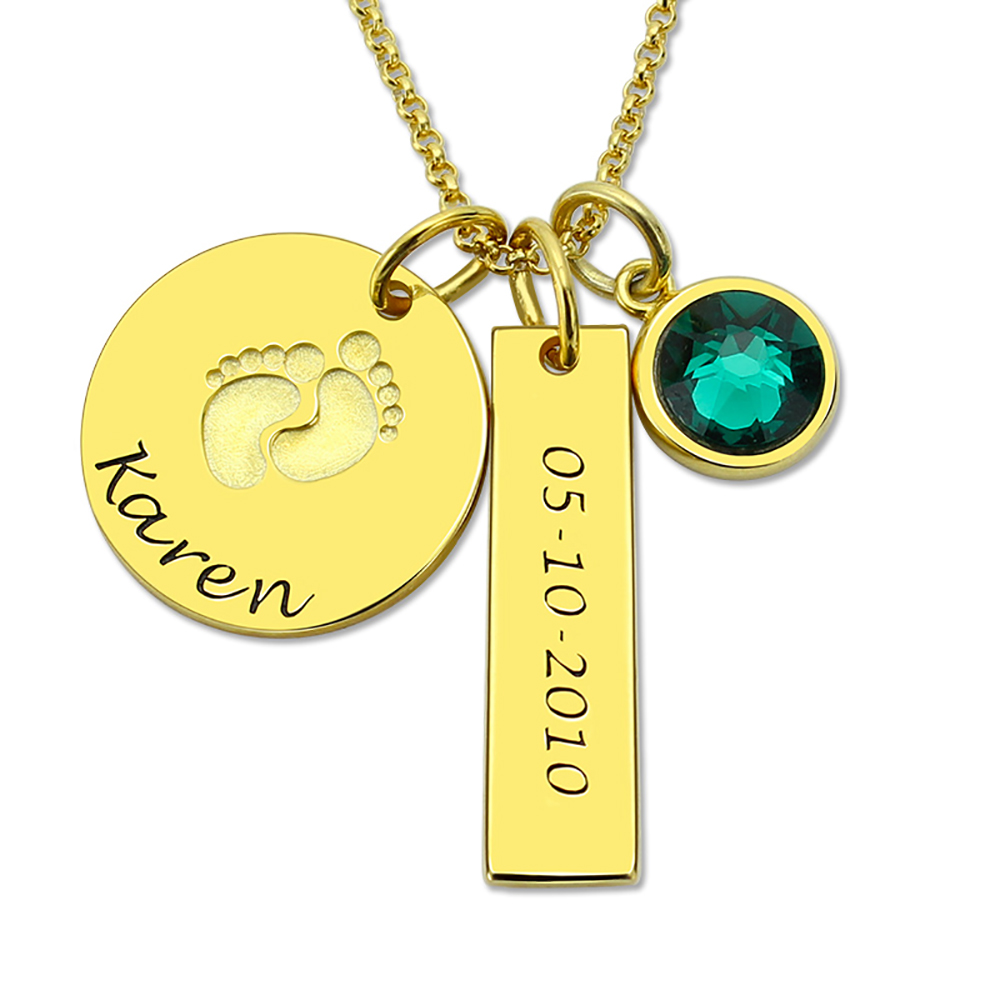 Sweey Dropshipping Personalized Baby Feet Disc Necklace with Birthstone Engraved Disc &Bar Necklace Best Gift for New Mom image