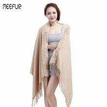 Модная женская накидка из шерсти с кроличьим мехом, мягкий однотонный шарф из пашмины для девочек, LX00319