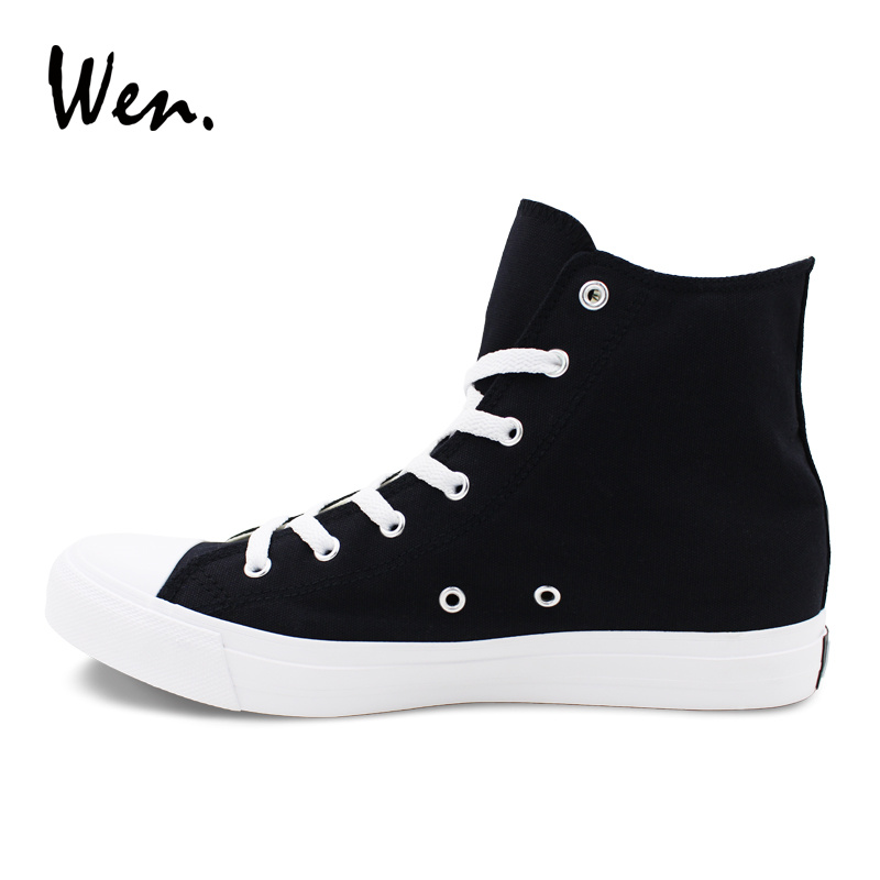Wen Hand Painted Custom Shoes MR Cat Suit Tie Original Design Men Canvas High Top Sneakers Black Skateboarding Shoes Women