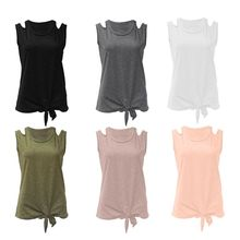 Women Plus Size Sleeveless Cami Tank Top Solid Color Tie Knot Front Cut Off Slit Shoulder O-Neck Basic Pullover Loose Vest Shirt pencil stripe knot cami top