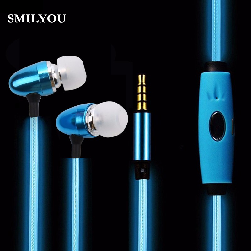 SMILYOU high quality Light Up Stereo LED Earphone Sport Earpiece Glowing Cable Headset with Mic for Android IPhone Mobile phone