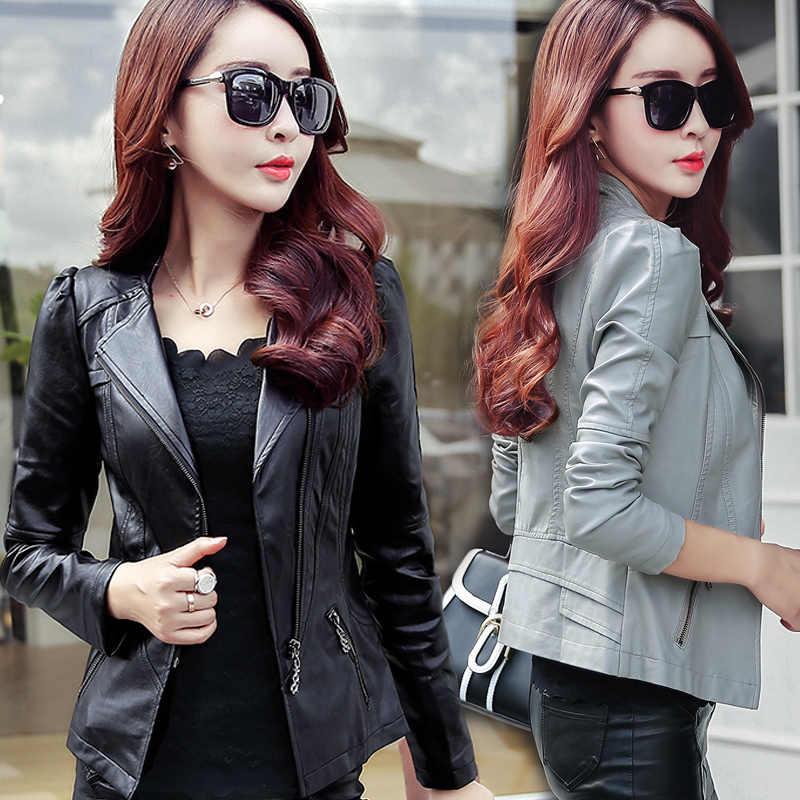 2019 Spring Autumn PU Leather Jacket Women Soft Faux Leather Coat Short Slim Black Motorcycle Jackets Plus Size 5xl 6xl YQ103