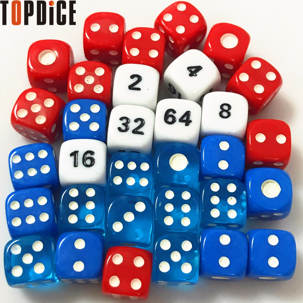 What game has a die with the numbers 2, 4, 8, 16, and 32 ...