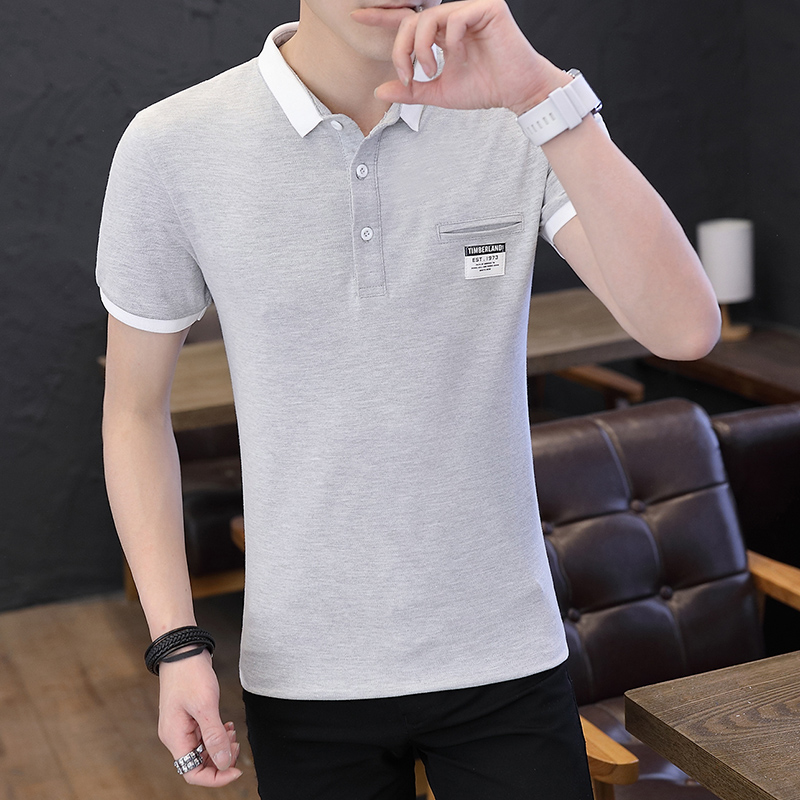 Mens Polo Shirt Summer Style Men Business Casual Solid Color Short Sleeve Polo Shirt Slim Cotton Polo Shirt Men Fake Pocket 18
