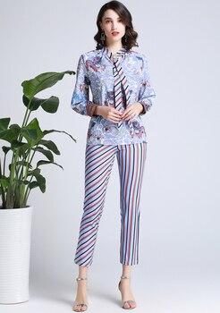 Conjunto dos piezas blusa primavera pantalón rayas 1