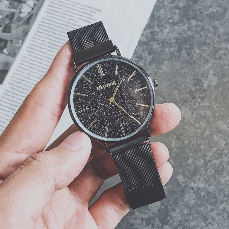 Fashion Watch Men 2019 Minimalist Style Starry Sky Watch For Men 39 s Magnet Mesh Quartz Wristwatches Ulzzang Relogio Feminino xfcs in Quartz Watches from Watches