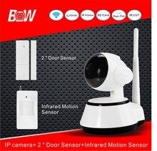 Nuevo Dispositivo de Acoplamiento de la Alarma P2P WiFi Monitor de Cámara de Visión Nocturna 2 sensor de puerta 1 infrarrojos motion sensor de la cámara ip inalámbrica BWIPC014