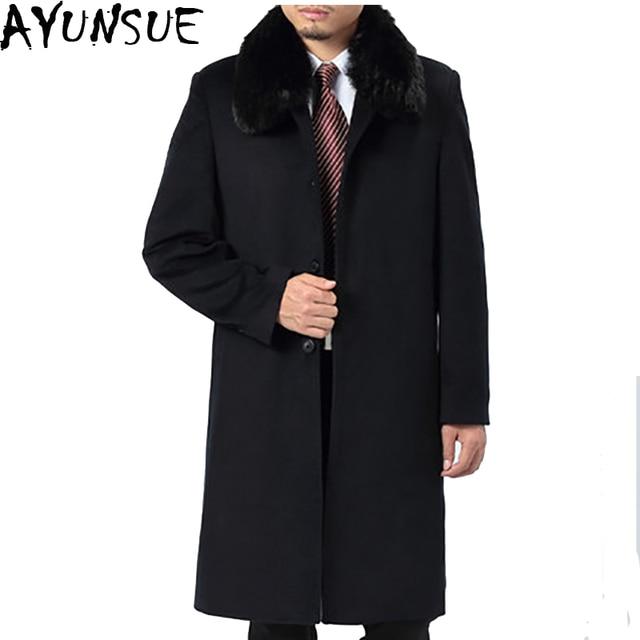 4bcafcfe41ffc AYUNSUE Inverno Di Lana Cappotto Uomo Giacche Caldo Super Lungo Pisello  Parka maschio Gira Giù Il