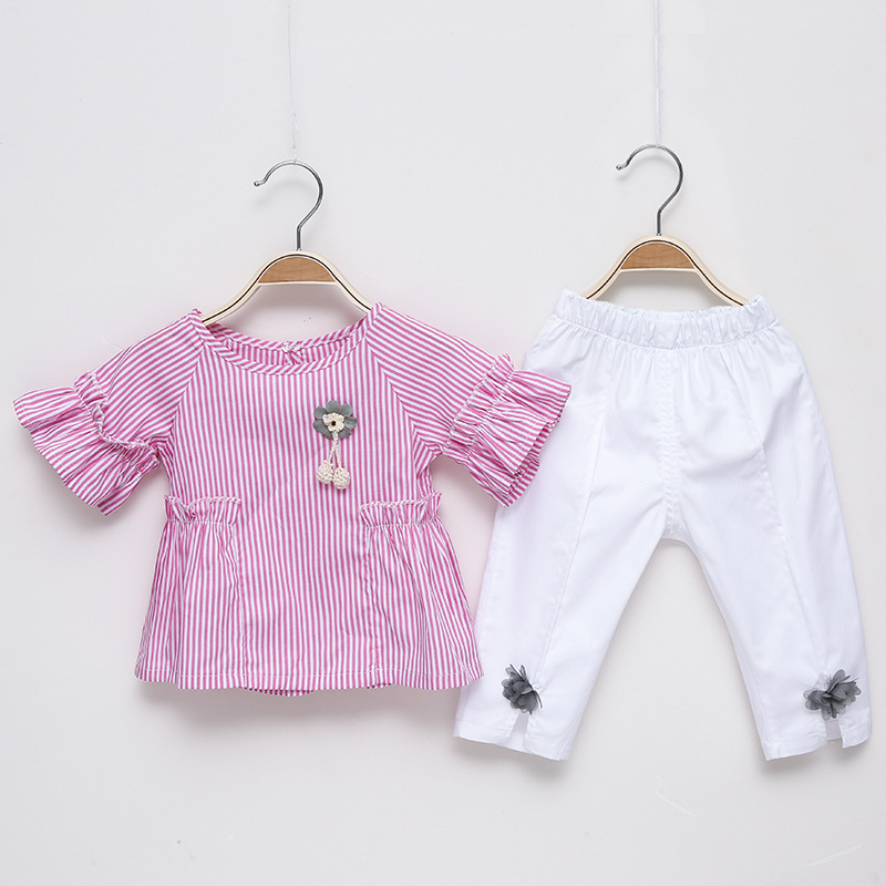 Baby Girl Summer Clothes Striped Pockets Butterfly Sleeve Pullover+Mesh Applique Long Pants Childrens Set Toddler Girls Costume