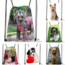 Custom Funny Yorkshire Terrier Drawstring Backpack Bag Cute Daypack Kids Satchel (Black Back) 31x40cm#180531-02-14