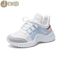 JCHQD 2019 ฤดูใบไม้ร่วง Vulcanize หญิงแฟชั่นรองเท้าผ้าใบลูกไม้สูงสำหรับพักผ่อนหย่อนใจผู้หญิงตาข่าย Breathable รองเท้าสบายๆ