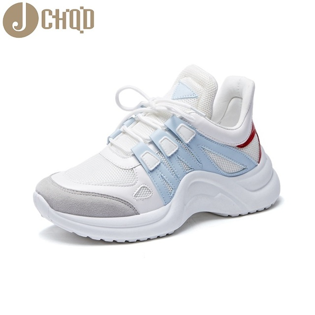 JCHQD 2019 autumn Vulcanize Female Fashion Sneakers Lace Up Soft High Leisure Footwears Breathable Mesh Women Casual Shoes