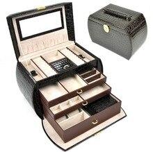 Joyero 4 capas de lujo caja de regalo de cuero princesa de moda pendiente ataúdes de embalaje leatherwith espejo