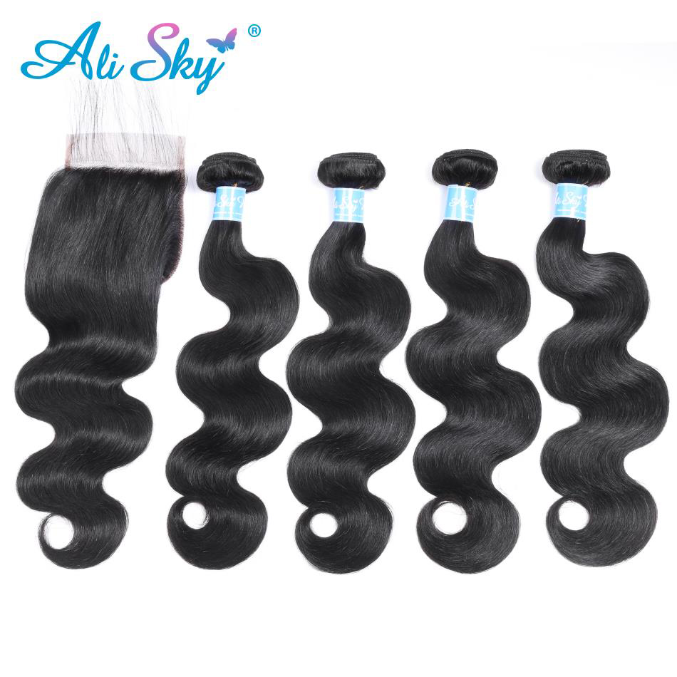 Alisky Human Hair Bundles With Closure Body Wave Malaysia Hair Weave 4 Bundles With Closure Swiss