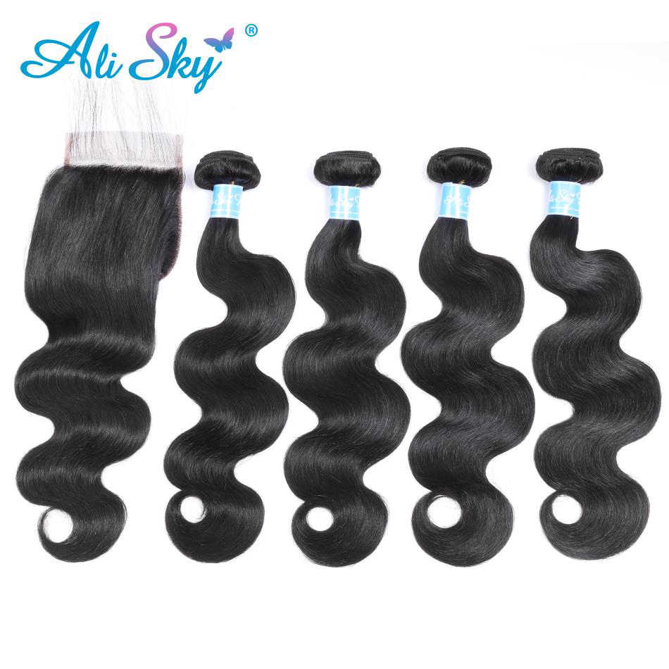 Alisky Human Hair Bundles With Closure Body Wave Malaysia Hair Weave 4 Bundles With Closure Swiss Lace Non Remy Hair Extensions