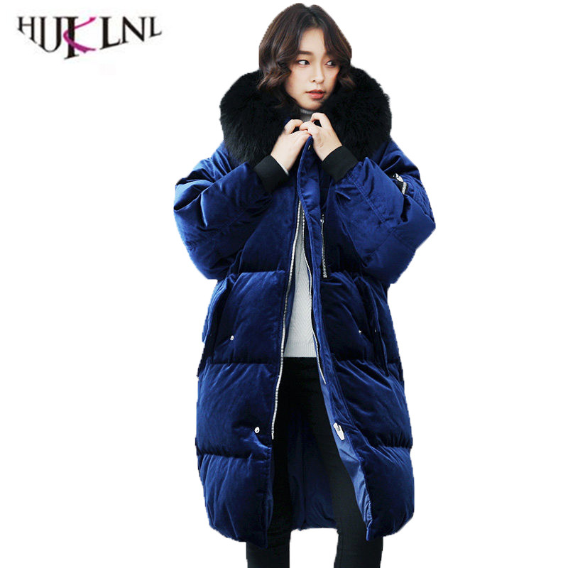 2018 New Women Winter   Down     Coat   Loose Thicken Casual Jacket Donkey Hair Hooded Outwear Velvet Long Outerwear Royal Blue YP075