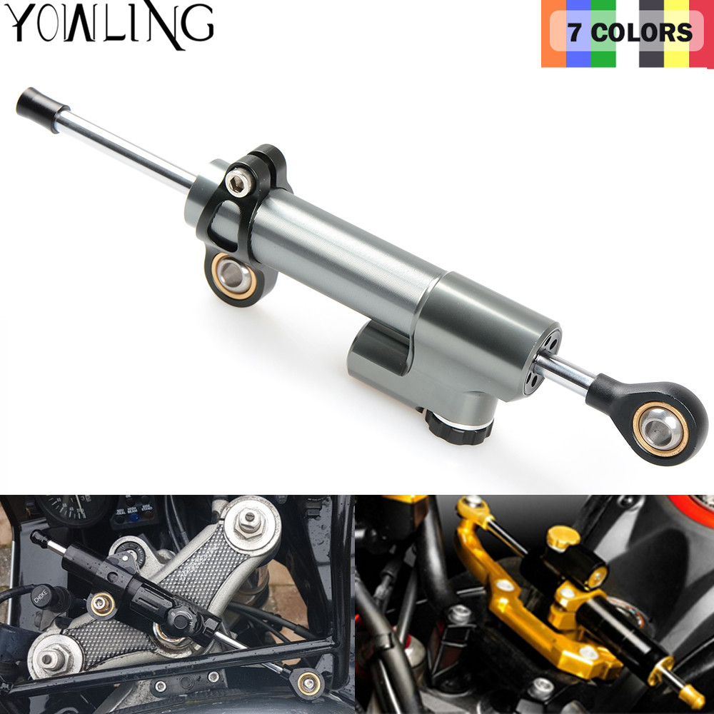 CNC Damper Steering StabilizerLinear Reversed Safety Control Over for z800 z750 yamaha r6 mt07 fz6 r3 ninja 300 mt 09 xj6 mt-07