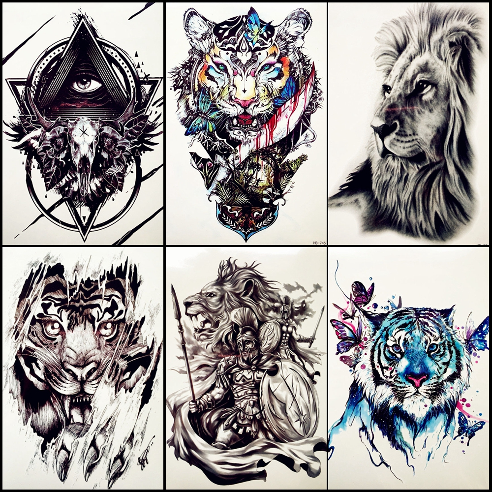 6 Pieces/Lot Water Color Tiger Broadsword Tattoo Hero Of Sparta Warrior Drawning Body Art For Men Women Temporary Tattoo Sticker