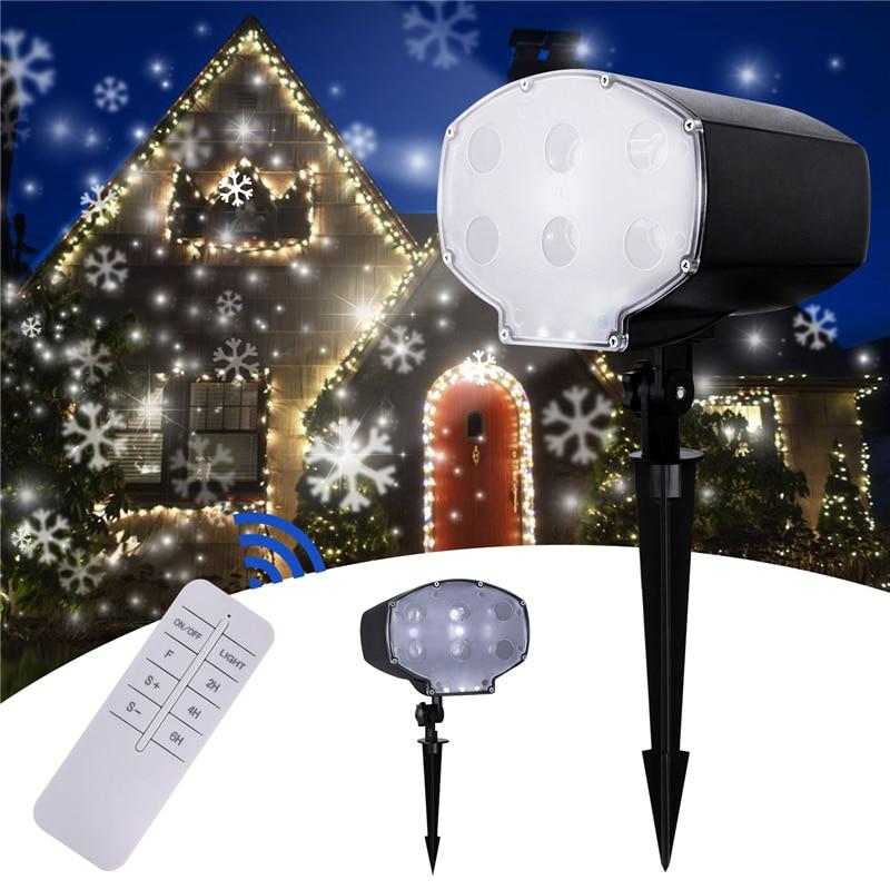Waterproof Snowflake Snow Fall LED Laser Projector Light Garden Landscape Xmas F