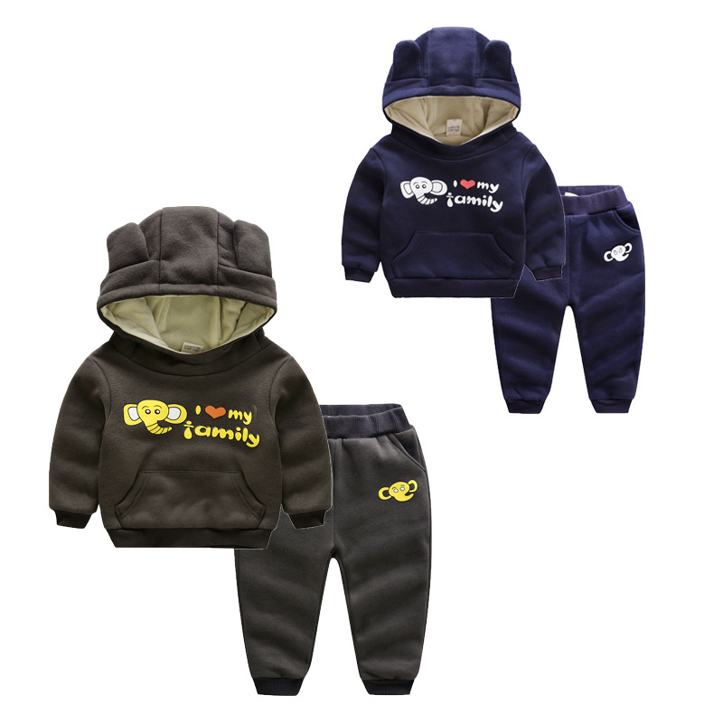 2017 children winter Sweatshirts sets Cartoon Bear boys girls thickening With velvet Two piece suit Baby sports clothes clothing