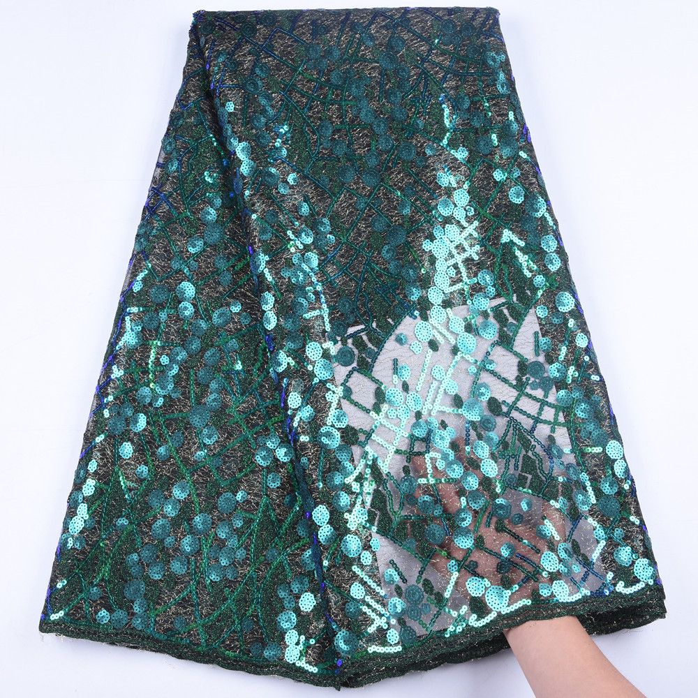 African Sequins Cord Lace Fabric 2019 High Quality Green Lace French Sequence Tulle Lace Nigerian Voile