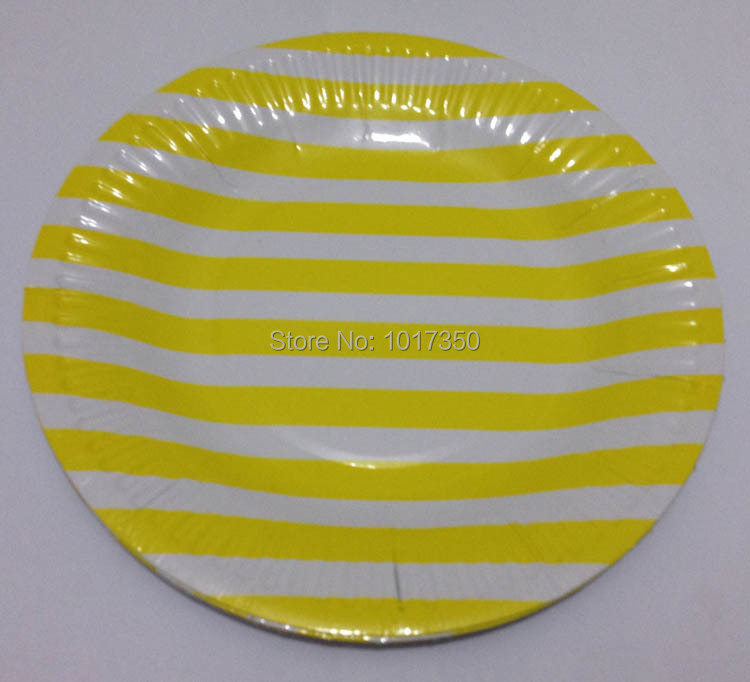 10pcs 7inch Yellow stripe Dinnerware Round Paper Plate Wedding Party Supplies Christmas paper Plates Event decoration Supplies-in Disposable Party Tableware ...  sc 1 st  AliExpress.com & 10pcs 7inch Yellow stripe Dinnerware Round Paper Plate Wedding Party ...