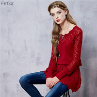 Artka 2017 Autumn Knitted Lace Elegant Women Sweater Long Romantic Sweater Pullover Top Female Clothing LB15250Q