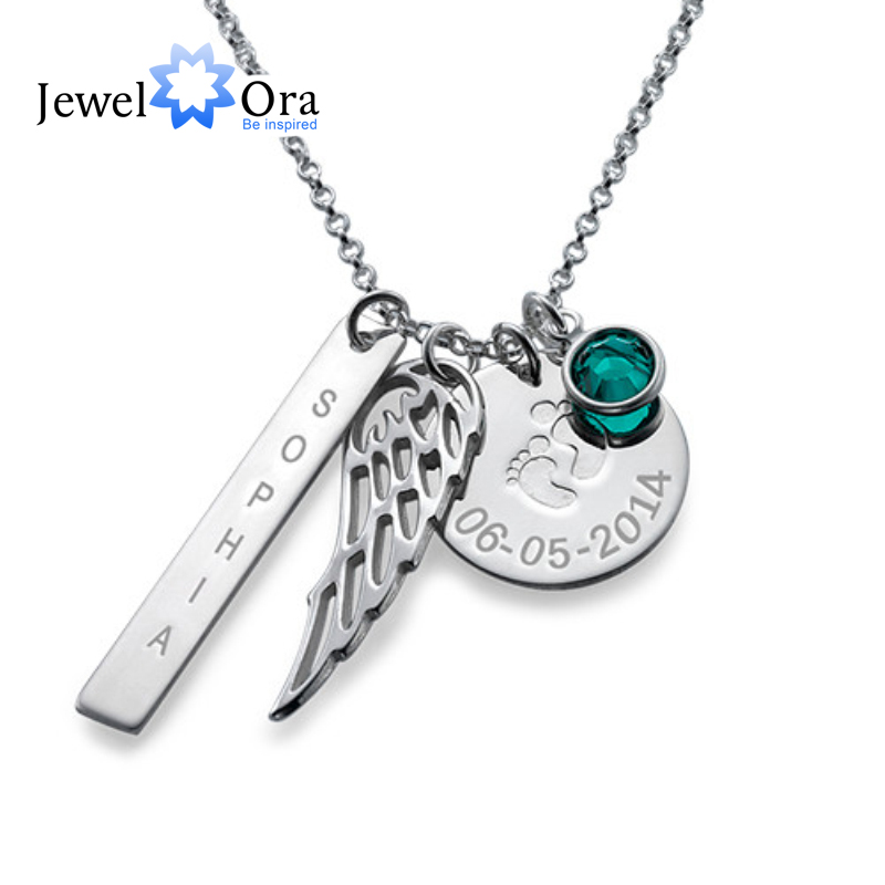 Personalized 925 Sterling Silver Birthstone Article Name Brand With Wings Necklace DIY Name jewelry Gift (JewelOra NE101377)Personalized 925 Sterling Silver Birthstone Article Name Brand With Wings Necklace DIY Name jewelry Gift (JewelOra NE101377)