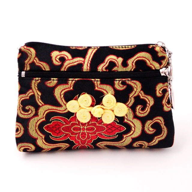 Womens Double Zipper Wallet Chinese Knot Cute Coin Purse Small Craft Bag Silk Brocade Jewelry Bags
