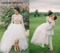 Vestido de Noiva Lace & Tulle Two Piece Beach Wedding Dress Sexy Simple Trouwjurk Robe de Mariee