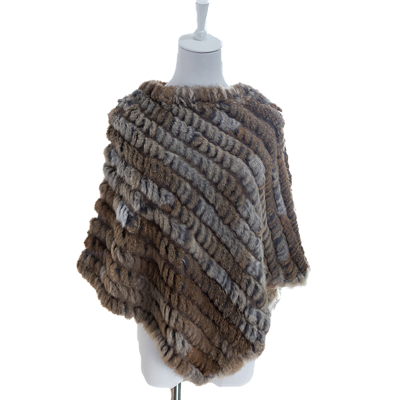Elegant Women Genuine Natural Rabbit Fur Wraps Coat Winter Warm Cape Hand-Woven Soft Shawl Poncho Brown Grey
