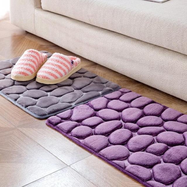 3D Soft Carpet Cobblestone Memory Foam Mats Home Bathroom Toilet Door Mat  Absorbent Non Slip