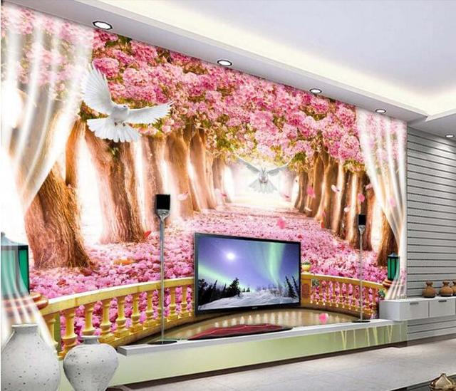 3d wallpaper custom mural non woven wall sticker 3d balcony the cherry blossom avenue painting