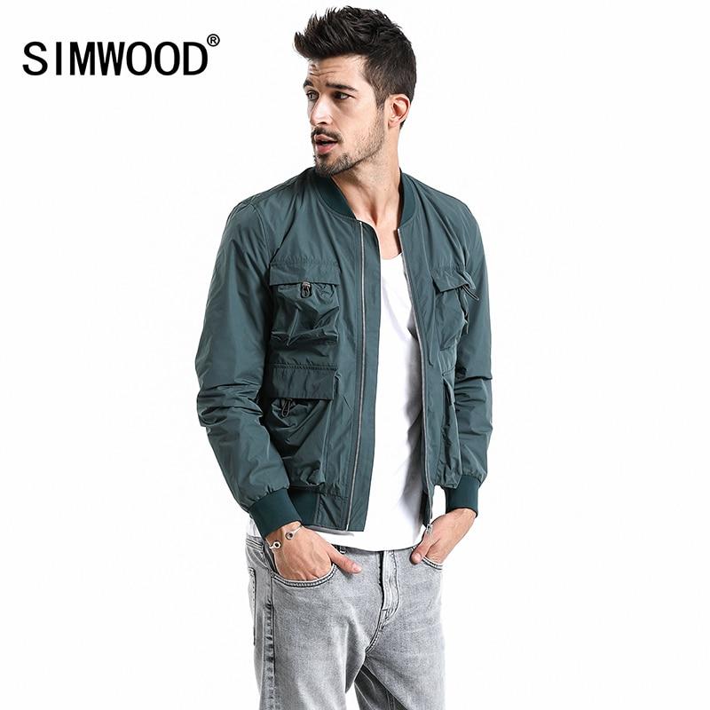 SIMWOOD 2019 nowa jesień kurtka Bomber mężczyźni odzież wierzchnia plus size wiatrówka moda płaszcze casualowe Slim fit odzież marki 180067 w Kurtki od Odzież męska na  Grupa 1