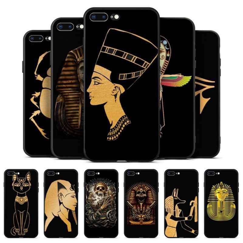 Babaite Ai Cập Nefertiti Anubis Ankh Điện Thoại Trường Hợp Fundas Coque Cover Quay Lại cho iPhone 8 7 6 6 S Cộng Với X XS MAX 5 5 S SE XR Bìa