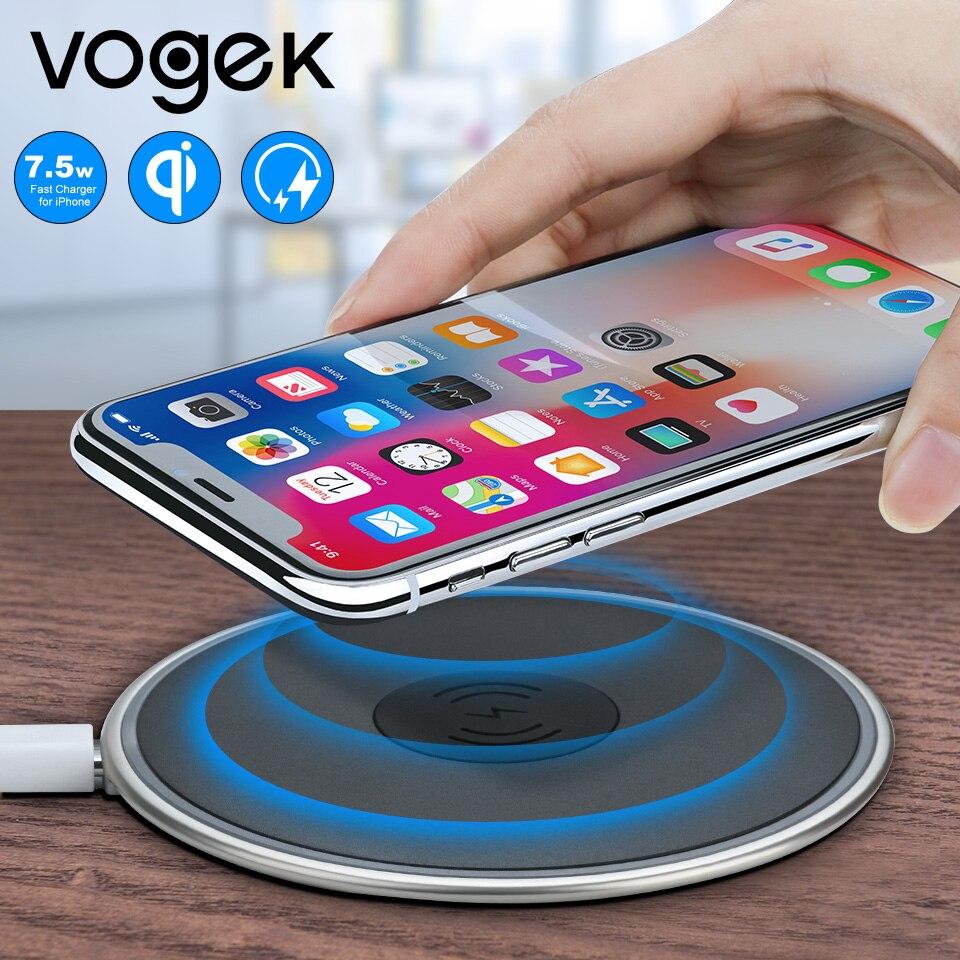 43b6496b03d Vogek 7,5 W Qi cargador inalámbrico para iPhone 8 X, 10 W cargador rápido  para Samsung S8 S7, aleación de Zinc silicona teléfono cojín de carga