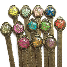 Купить с кэшбэком 1 Pcs Creative Retro Bronze Round Bookmark Ruler Vintage Metal Colorful  Flower Bookmarks with Glass Gems As Book Page Marker