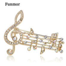 Blucome Music Note Large Brooches For Women Austrian Crystal Scarf Coat Clips Pins Icon Jewelry Party Dress Broche Decoration crystal sunflower brooches lapel pins for women corsage scarf dress decoration