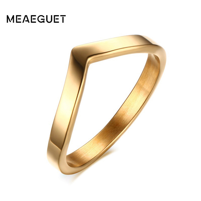 Meaeguet simple v shape ring for party Gold-Color 316L stainless steel fashion jewelry rings for women