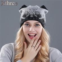 Xthree зимняя шапка для женщин кролика шерсть вязаная шапка шапочки шляпа котенок шляпа feminino
