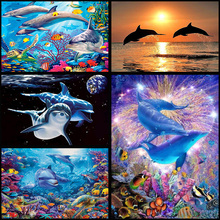 Full  Drill 5D DIY Diamond Painting  Dolphins  Embroidery set Cross Stitch Mosaic Decor gift VIP