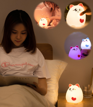 Silicone Cat Animal Touch LED Night Light Decompression Toy USB Charging Cartoon Children's Lighting Control Night Light Bedroom