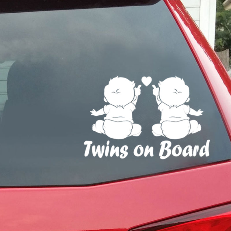 Car Vehicle Products Twins Baby On Board Sticker Decals For Automotive Vinyl Stickers Cars Styling Auto Autocolantes
