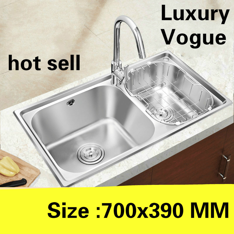 Free Shipping Luxurious Vogue Small Kitchen Double Groove Sink Do The Dishes Food Grade 304 Stainless Steel 700x390 MM