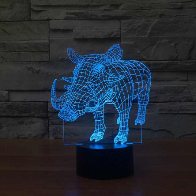 wild Boar 3D Night Light Pig Lamp 3D Bulbing Light Remote Touch Swithc Colorful Desk Table Novelty Light lampada Lamp