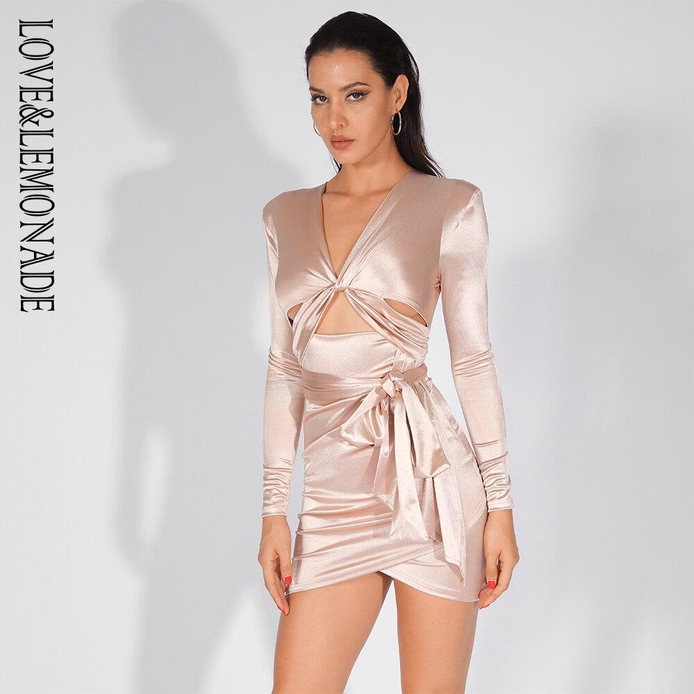Love Lemonade Deep V Neck Cut Out Shoulder Pad Slim Fit Party Dress LM81565 NUDE